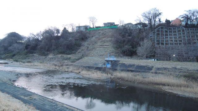大栗川と多摩川の合流地点