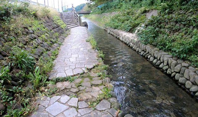 大河原公園から関戸公園野球場前までの小川