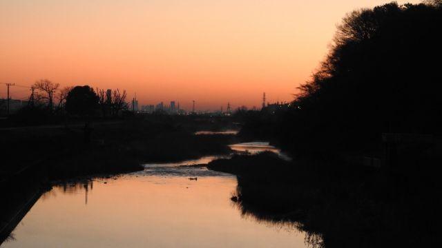 大栗川から見る朝焼け